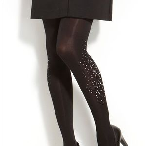 Kate Spade Black Tights with Silver Jewels, S/M